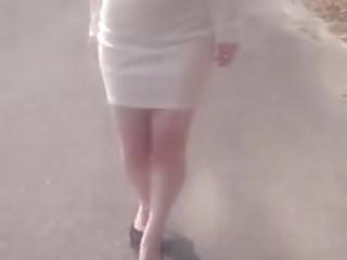 Korean girl walking with..