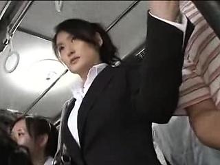Japanese public bus blowjob..