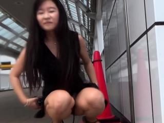 Asian pisses for voyeur in..