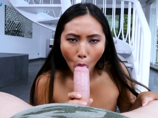 Small tits asian babe gives..