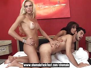 Sexy blonde tranny fucks..
