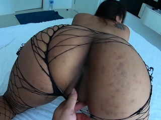 Asian girlfriend rubs her..