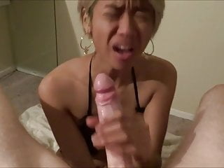 Asian Slut Sucking White..